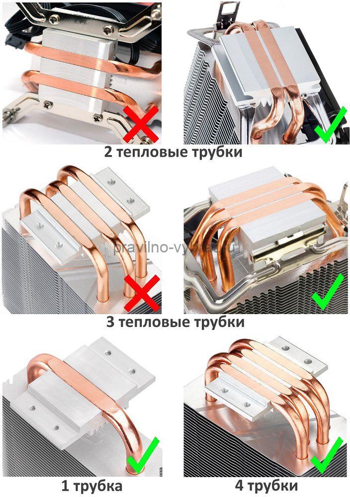 Примеры оснований кулеров с одной, двумя, тремя и четырьмя тепловыми трубками