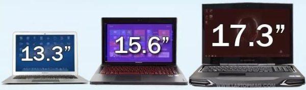 Сравнение размеров диагоналей ноутбуков – 13,3, 15,6 и 17,3 дюйма